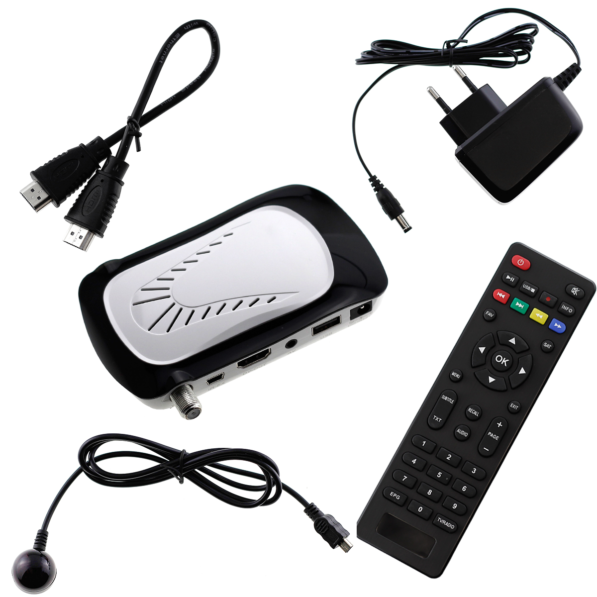 full hd digital sat receiver hdmi kabel dvb s dvb s2 usb 1080p tv mount weiss ebay. Black Bedroom Furniture Sets. Home Design Ideas